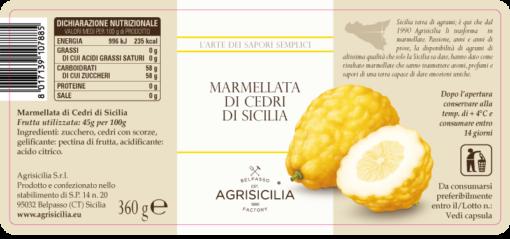 Agrisicilia marmolada z cedru sycylijskiego 360 g