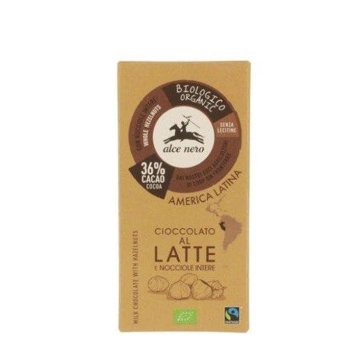 Alce Nero Cioccolato al latte z orzechami 100g