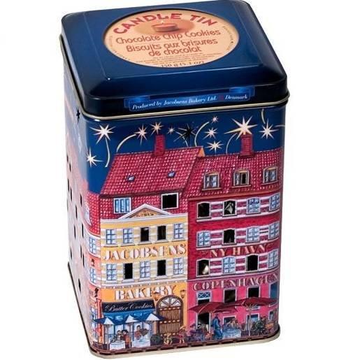 Jacobsens Candle Tins duńskie ciastka niebieska puszka lampion 150g
