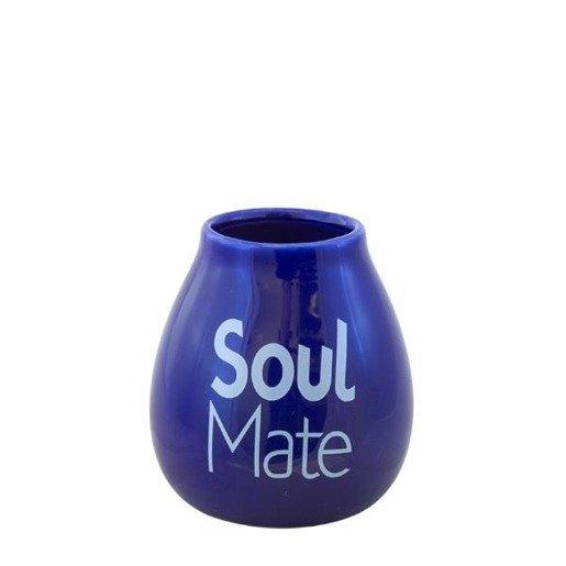 Tykwa Niebieska ceramiczna z logo Soul Mate do yerba mate